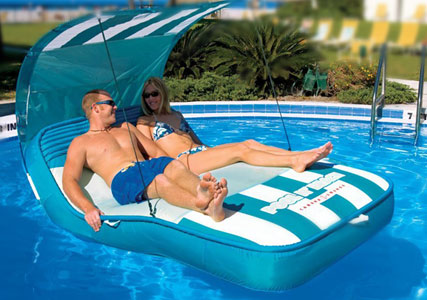 inflatable pool cabana for two