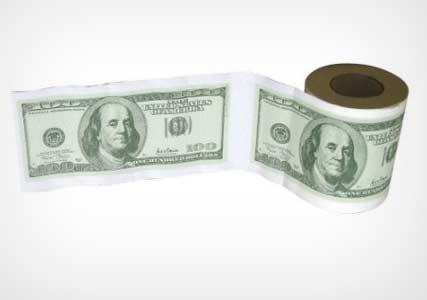 dollar bill toilet rolls