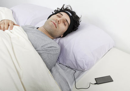 sleeping in bed headphones
