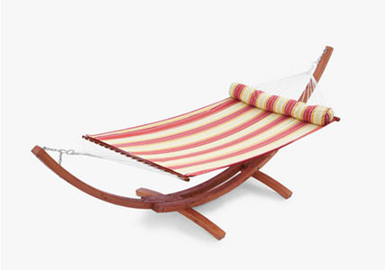 Cantina™ Wood Arc Hammock With Striped Polyspun Bed Set