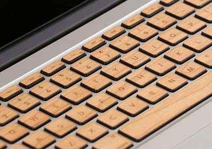 wooden mac keyboard