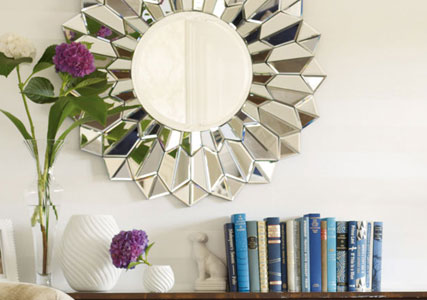 Large round mosaic mirror