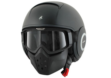matt black open face motorbike helmet